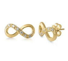 Infinity Silver Earrings 925 Sterling Cubic Zirconia Yellow Gold Plated Studs
