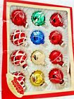 Vintage Christmas Tree Glass Ornament Painted Glitter Stencil Lot12 Feather Tree