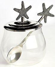 3-Pc Seaside Starfish Tabletop Condiment Jar W/Spoon Kitchen Beach Coastal Decor