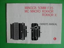 MINOLTA MC Macro 50mm f 3.5 Bedienungsanleitung BDA Anleitung, englisch