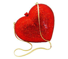 Anthony David USA - Red Crystal Heart Gold Metal Evening Bag