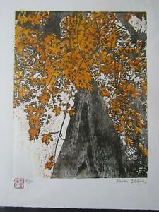 Up a Maple Original Woodblock Print woodcut Japanese Moku Hanga Signed Clark Red