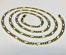 "18k Solid Gold Handmade Figaro Curb link men's chain/necklace 18"" 24 Grams 5 MM"