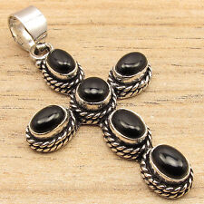 Natural ONYX Gemstones Vintage Jewelry CROSS Pendant Black , 925 Silver Plated