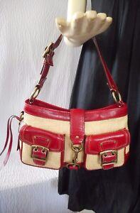 Coach Legacy Red Leather & Straw Handbag #105
