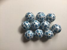 Blue And White Snowflake Print 20mm Acrylic Beads - Pack Of 10