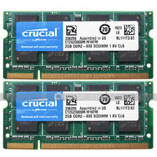 Crucial 4GB KIT 2x2GB PC2-6400 DDR2-800Mhz 200pin SODIMM Laptop Notebook Memory