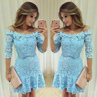 Sexy Women Casual Lace Mini Dress Evening Coacktail Bodycon Party off shoulder