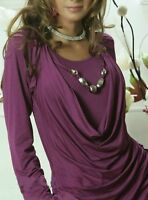 Sexy Miss Damen Langarm Shirt Perl Kette Wasserfall Double ToP 34/36/38 NEU lila