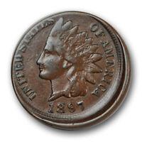 1897 1C Indian Cent Very Fine VF Struck Off Center 10% R1149