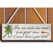 Sand & Soul Wooden Beach Plaque / Sign (Palm Tree)