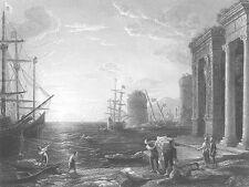 CLAUDE LORRAIN Sea Port BOATS SHIPS HARBOR ~ 1859 SEASCAPE Art Print Engraving