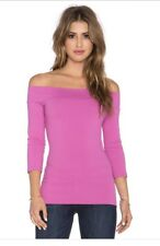 Susana Monaco Pink Bougainvillea 3/4 Sleeve Off Shoulder Banded Top Shirt S NWOT