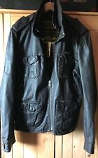 Superdry Brad brown leather jacket, vintage style, mens Large