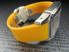 23mm Soft PU Rubber Strap CARTIER SANTOS 100 XL Diver Watch Band Amber Yellow x1