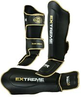 Maxx Shin Instep Pads Gel MMA Leg Foot Guards Muay Thai Kick Boxing Foam Pad bag