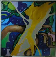 """Russischer Künstler der Modernen,Abstrakte Komposition mit Rohren"""" Öl, 1990"""