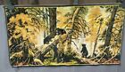 Vintage Cloth Tapestry 3 Black Bear Cubs Playing w/Mama Bear, Woods Scenery