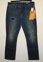 Seven 7 Mens Blue Jeans * Slim Straight Fit Distressed Stretch Denim 40x32 NWT