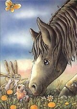Horse Rabbits Gopher Dandelions Hans Arnold Postcard Sweden