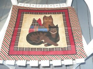 NEW CAT PILLOW PANELS  FABRIC FRONT AND BACK GREAT FARMHOUSE/COUNTRY DECOR