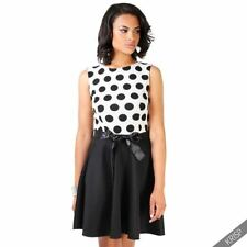 Polyester Spotted Skater Plus Size Dresses for Women