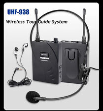 Pro UHF-938 Wireless Headset Tour Guide System Teaching Training Tourism 1T12R
