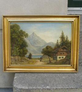 Fine antique Master oil.  Alpine landscape. Tyrol Austria. Ca 1850. Signed.