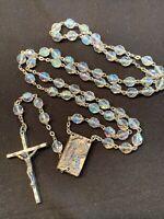 Rosary Aurora Borealis Crystal Beads Relic Catholic Religious Italy Vintage