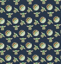STAR WARS Navy Disney Baby Yoda Mandalorian 100% Cotton Fabric Fat Quarter 18x21