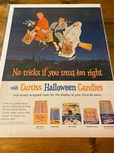 Vintage 1962 Brach's Halloween Candy Children Flying On Broomstick ad
