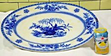 "Antique STAFFORDSHIRE FLOW BLUE & WHITE 20.5"" PLATTER by J & T FURNIVAL (001)"