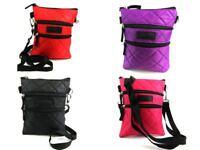 Ladies Light Weight Crossbody Over Body Bag Nylon Handbag Quilted 4 Zips Tablet