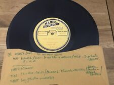 "11 X 10"" RADIO RECORDERS ACETATE- JASCHA HEIFETZ,RICHARD CROOKS , ROBERT WEEDE,"