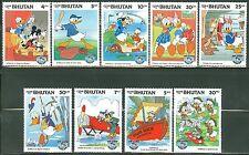 Bhutan Disney Donald Duck'S Birthday Set Scott#460/68 Mint Nh