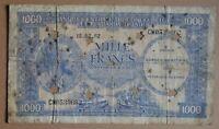 CONGO BELGE . 1000 FRANCS 1962 . RARE