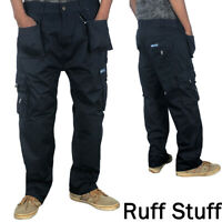 Mens Professional Work Cargo Combat Tough Trousers with Knee Pad Pockets