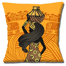 "African Tribal Lady 16""x16"" 40cm Cushion Cover Water Carrier Elephants Orange"
