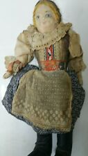 Antique Rare Russian Painted cloth Face Very Old Doll 15� Tall Gc