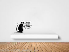 """WALL - Banksy Style Rat - I'm Out of Bed - Wall Vinyl Decal (18""""Wx11""""H)(BLACK)"""