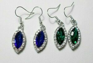 Earrings - Sparkly glass drops, marquise shape, 40mm long, Blue or Green