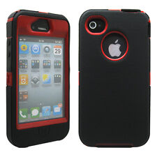 New Black & Red Three Layer Silicone PC Case Cover for iPhone 4 4G 4S