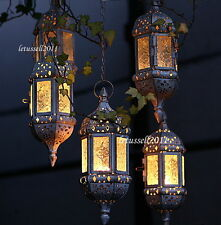 HANGING CHAINED MOROCCAN LANTERN METAL TEALIGHT CANDLE HOLDER COLORED GLASS