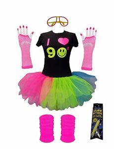 "I Love 90s Rainbow Tutu Skirt 17"" Neon 90's Fancy Dress Tshirt Set Hen Party Set"