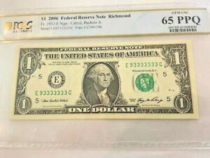 2006 $1 Fancy Serial Number Binary -93333333-PCGS 65PPQ-7 consecutive 3's