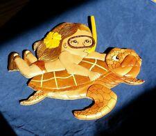 M Honu Turtle Girl Snorking  Hawaiian Hawaii Handcrafted Wood Art Wall Hanging