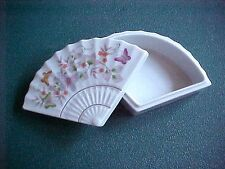 Vintage Miniature Avon Porcelain Fan Shaped Trinket Box Butterfly Design Japan