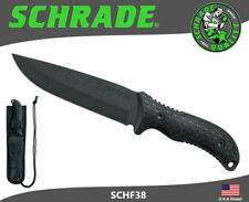 Schrade Frontier Fixed Knife Full Tang 1095 Carbon TPE Handle Sheath SCHF38
