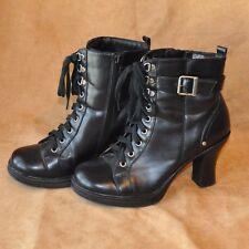 Victorian Black Granny Boots Size 7 Lace Ups Buckle Side Zipper Heels Steampunk