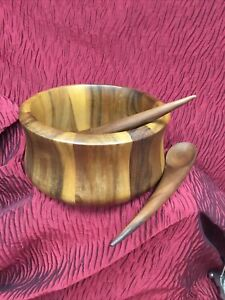 Nambe Wooden Salad Bowl Large With Servers